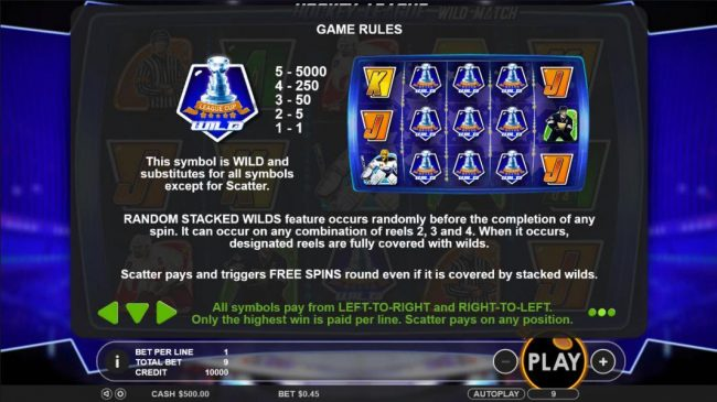 Yoyo featuring the Video Slots Hockey League Wild Match with a maximum payout of $25,000