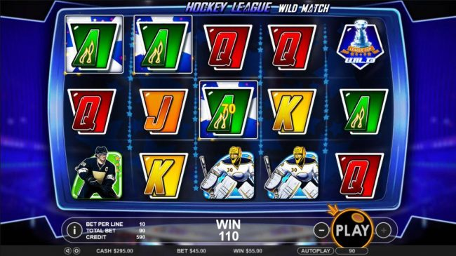 Winward featuring the Video Slots Hockey League Wild Match with a maximum payout of $25,000