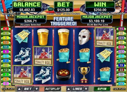 ReelSpin featuring the Video Slots Hockey Hero with a maximum payout of $250,000