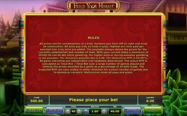 General Game Rules. The theoretical RTP for this game is 94.99%
