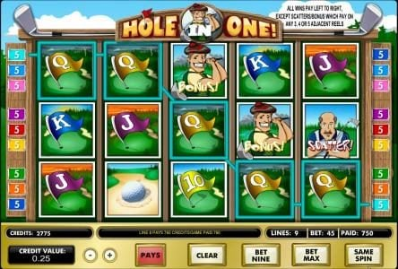 888 Casino featuring the Video Slots Hole in One! with a maximum payout of $62,500