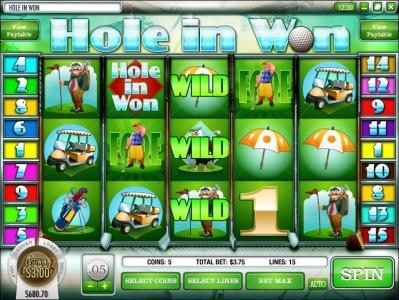 Casino Royal Club featuring the Video Slots Hole in Won with a maximum payout of $3,750