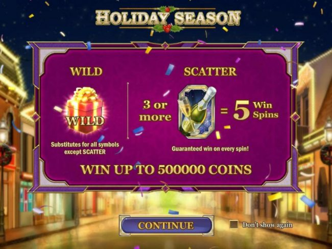 Game features include: Wild and Scatter symbols. Win up to 500,000 coins!