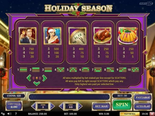 High value slot game symbols paytable featuring Christmas Holiday themed icons.
