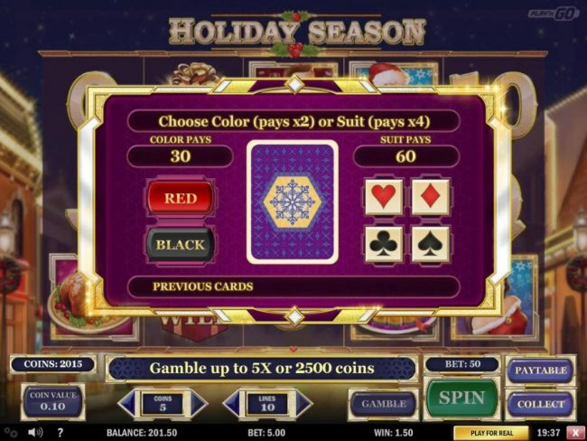 Gamble Feature - To gamble any win press Gamble then select color or a suit.