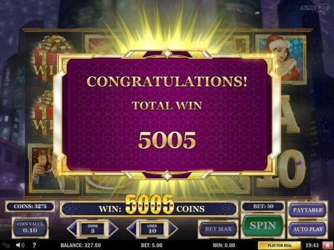 Free Spins feature pays out a total of 5005 coins.