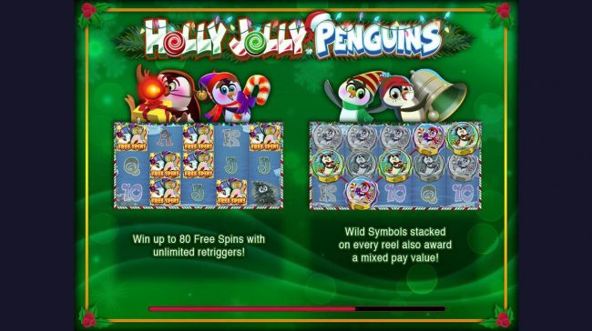 Play slots at Wunderino: Wunderino featuring the Video Slots Holly Jolly Penguins with a maximum payout of $312,500