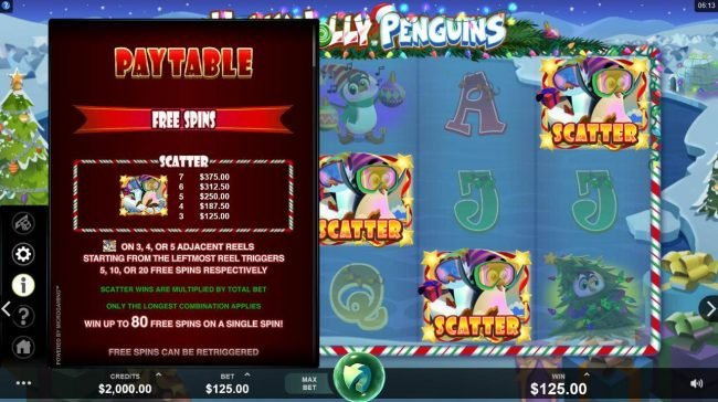 Play slots at Jackpot Paradise: Jackpot Paradise featuring the Video Slots Holly Jolly Penguins with a maximum payout of $312,500