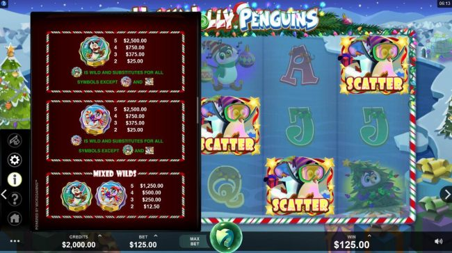 Intercasino featuring the Video Slots Holly Jolly Penguins with a maximum payout of $312,500