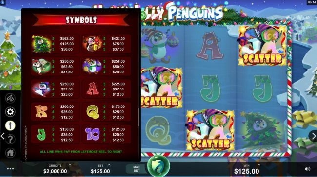 Cinema featuring the Video Slots Holly Jolly Penguins with a maximum payout of $312,500