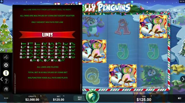 Phoenician featuring the Video Slots Holly Jolly Penguins with a maximum payout of $312,500