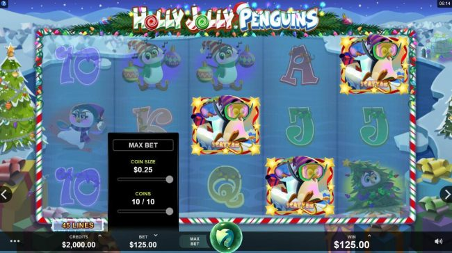 First Web featuring the Video Slots Holly Jolly Penguins with a maximum payout of $312,500