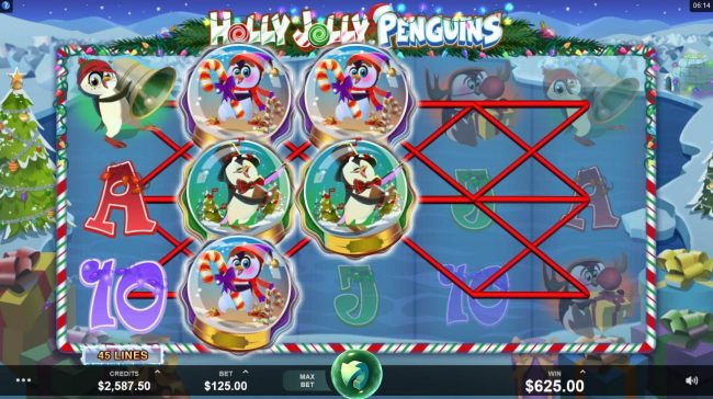 River Nile featuring the Video Slots Holly Jolly Penguins with a maximum payout of $312,500