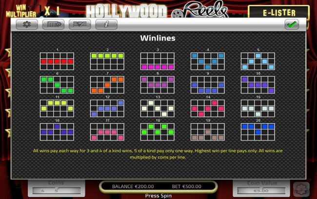 Big Spin featuring the Video Slots Hollywood Reels with a maximum payout of $125,000