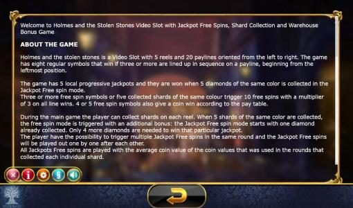Buran featuring the Video Slots Holmes and the Stolen Stones with a maximum payout of Jackpot