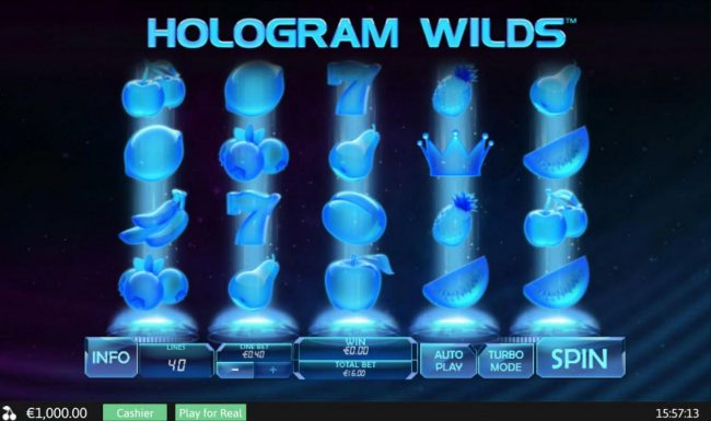 Hologram Wilds :: Main game board featuring five reels and 40 paylines with a $400 max payout.