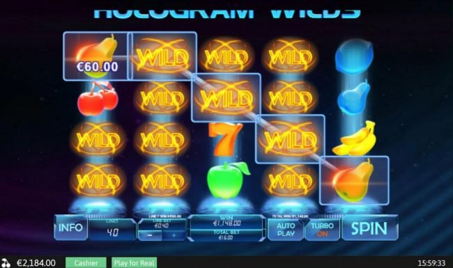 Euro Grand featuring the Video Slots Hologram Wilds with a maximum payout of $400