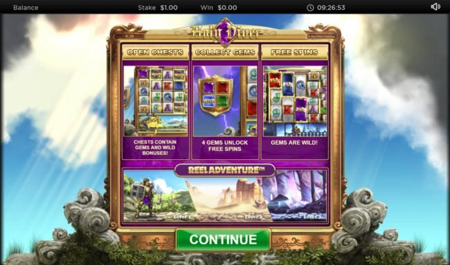 Play slots at Intercasino: Intercasino featuring the Video Slots Holy Diver Reel Diver with a maximum payout of $300