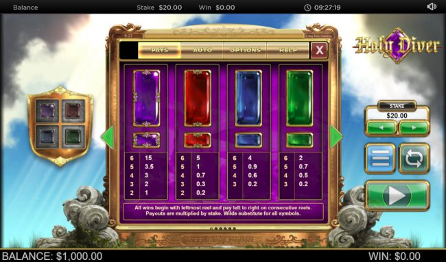 Jackpot Paradise featuring the Video Slots Holy Diver Reel Diver with a maximum payout of $300