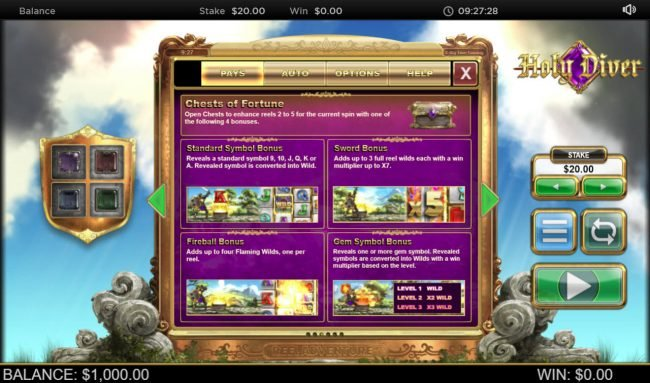 CKcasino featuring the Video Slots Holy Diver Reel Diver with a maximum payout of $300