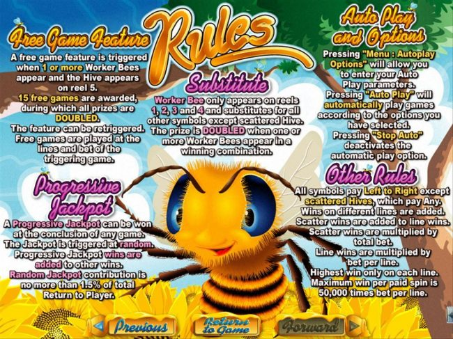 Casino Bellevue featuring the Video Slots Honey To The Bee with a maximum payout of $250,000