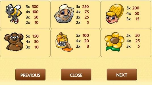 My Touch featuring the Video Slots Honey Bees with a maximum payout of $7,500