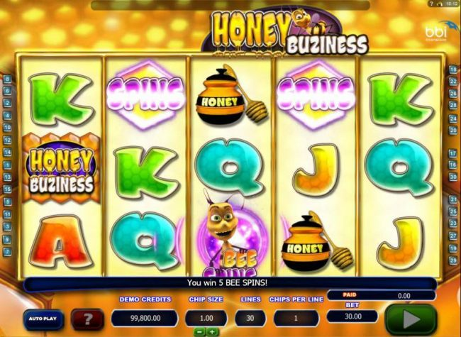 10Bet featuring the Video Slots Honey Buziness with a maximum payout of $30,000