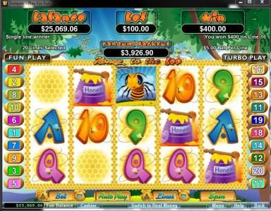 Slots Inferno featuring the Video Slots Honey To The Bee with a maximum payout of $250,000