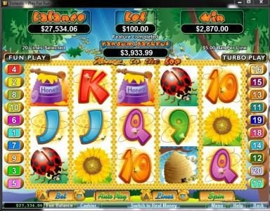 Lucky Red featuring the Video Slots Honey To The Bee with a maximum payout of $250,000