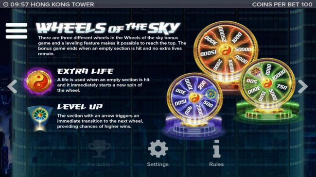 There are 3 different wheels in the Wheels of the Sky bonus game and a leveling feature makes it possible to reach the top.