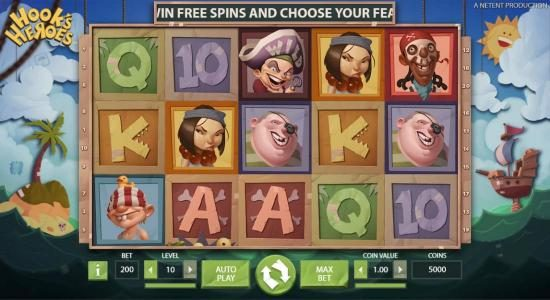 Spin Station featuring the Video Slots Hook's Heroes with a maximum payout of $194,800
