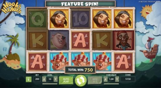 Hook's Heroes :: Multiple winning paylines triggers a 750 coin big win!