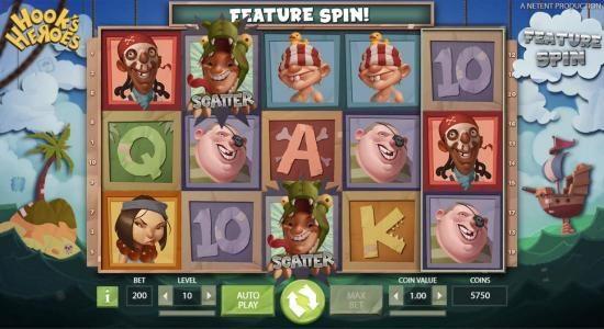 Play slots at Karamba: Karamba featuring the Video Slots Hook's Heroes with a maximum payout of $194,800