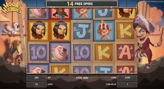 Hook's Heroes :: Pirate feature game board featuring 15 free spins.