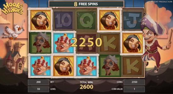 Simba Games featuring the Video Slots Hook's Heroes with a maximum payout of $194,800