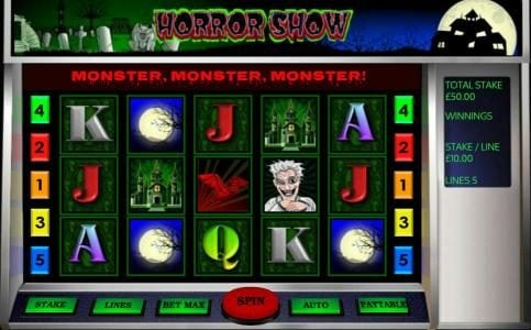 Gorilla featuring the Video Slots Horror Show with a maximum payout of $250,000