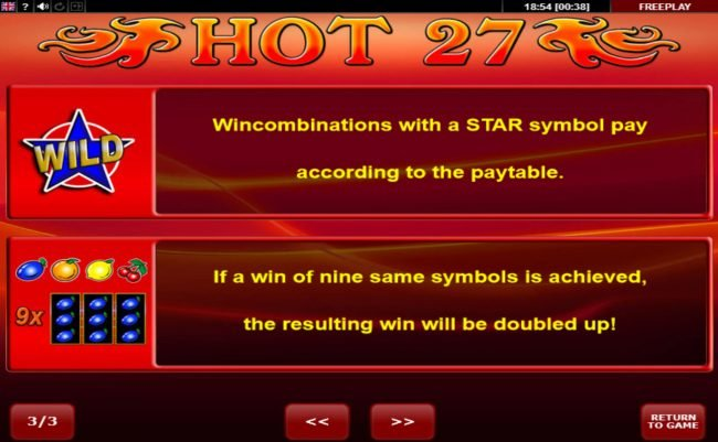 Karl Casino featuring the Video Slots Hot 27 with a maximum payout of $16,200