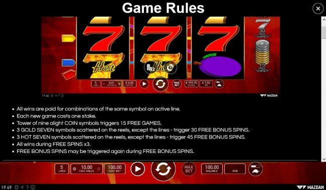 Hot 777 :: General Game Rules