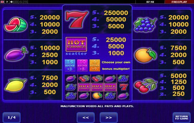 Hot Choice :: Paytable