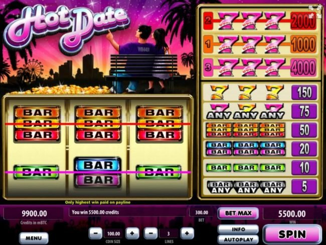 Royale24 featuring the Video Slots Hot Date with a maximum payout of $400,000