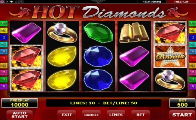 Play slots at Norske Casino: Norske Casino featuring the Video Slots Hot Diamonds with a maximum payout of $12,500