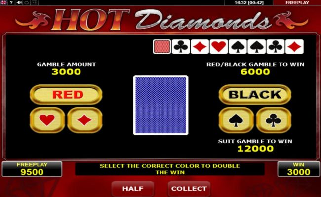 Oshi featuring the Video Slots Hot Diamonds with a maximum payout of $12,500