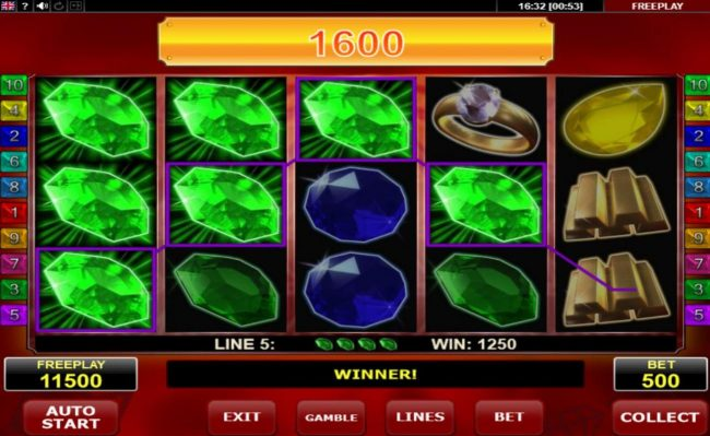 Malina featuring the Video Slots Hot Diamonds with a maximum payout of $12,500