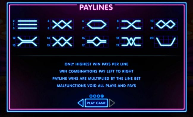 Payline Diagrams 1-20. Only highest win pays per line. Win combinations pay left to right. Payline wins are multiplied by the line bet.