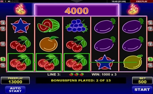 Norske Casino featuring the Video Slots Hot Neon with a maximum payout of $25,000