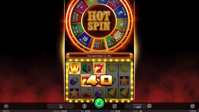 Videoslots featuring the Video Slots Hot Spin with a maximum payout of $10,000