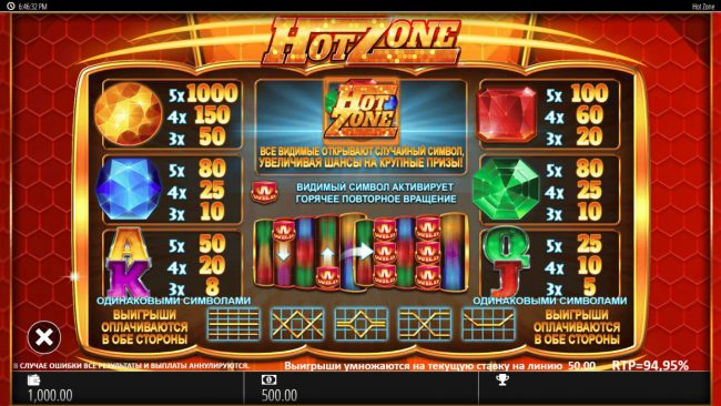 Hot Zone :: Paytable