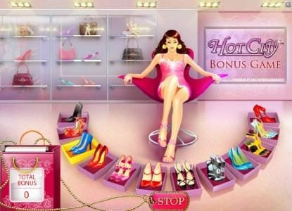 Hot City :: bonus feature game board - stop on the shoes you want and win a prize award