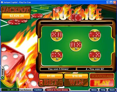 Play slots at Aussie Play: Aussie Play featuring the Video Slots Hot Dice with a maximum payout of Jackpot