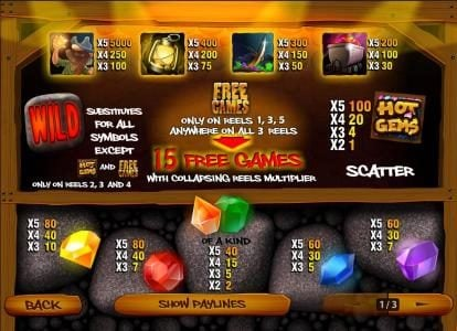 Hot Gems :: paytable, max prize 5,000x